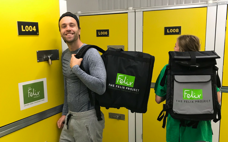 volunteers collecting courier bags from Urban Locker self storage