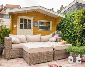garden shed with sofa
