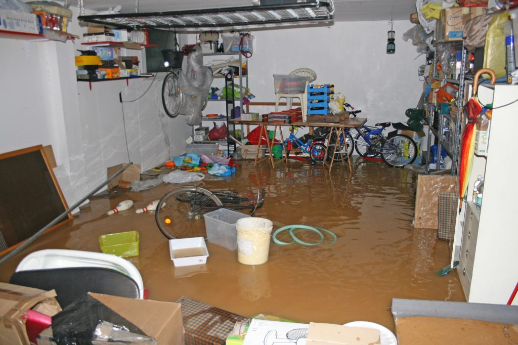 garage flooded and damaged items